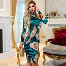 Spring and Summer Womens Wholesale Sexy Camouflage Colorblock Slim Collar Retro Simple Dress NHDE199728