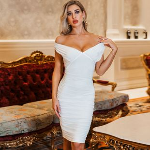 Spring and summer new women's sexy solid color slim nightclub wholesale dress NHDE199729's discount tags
