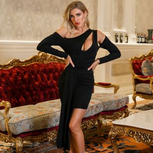 Summer new ladies dress sexy solid color asymmetric dress wholesale NHDE199730's discount tags