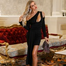 Summer new ladies dress sexy solid color asymmetric dress wholesale NHDE199730