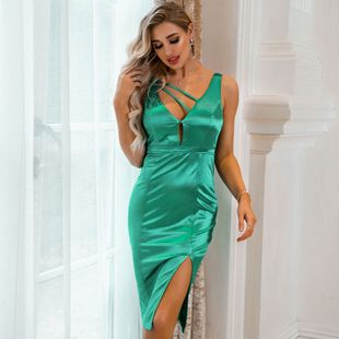 New Women's Wholesale Sexy Solid Color Hollow Fashion Dress NHDE199731's discount tags