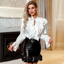 Womens Wholesale Spring Summer New Sexy Ruffled Solid Color Temperament Professional Shirt NHDE199732