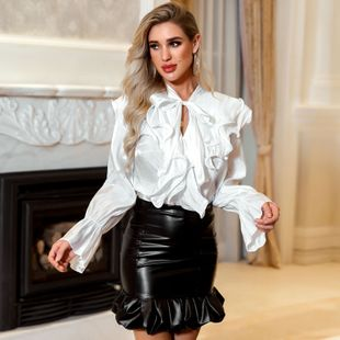 Women's Wholesale Spring Summer New Sexy Ruffled Solid Color Temperament Professional Shirt NHDE199732's discount tags