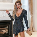 Spring and summer fashion womens sexy ruffled shiny party dress dress NHDE199734
