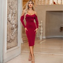 Sexy solid color slim shot temperament nightclub style dress wholesale NHDE199722