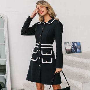 Retro Sexy Solid Color Lapel Straight Dress Women Wholesale NHDE199721's discount tags