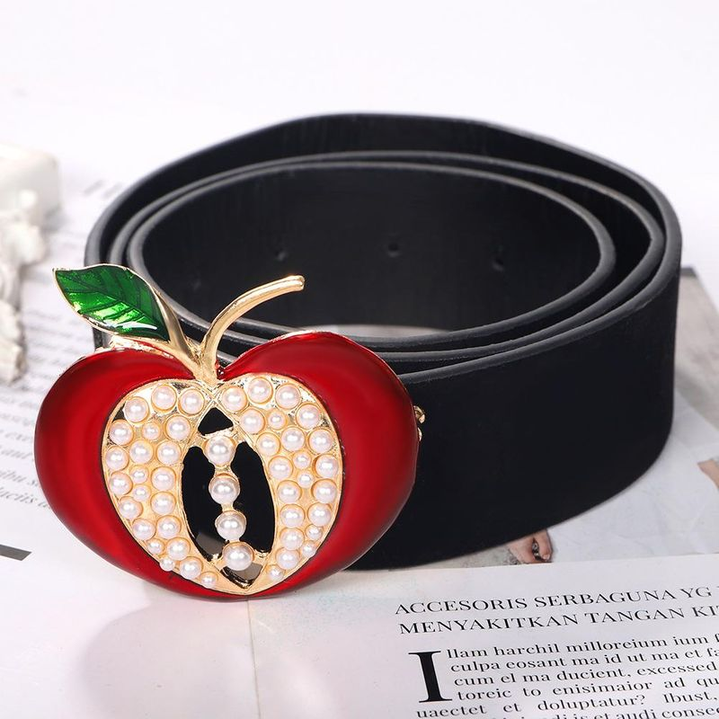 Korean exquisite suede paint new fashion artificial pearl apple belt NHJQ199007
