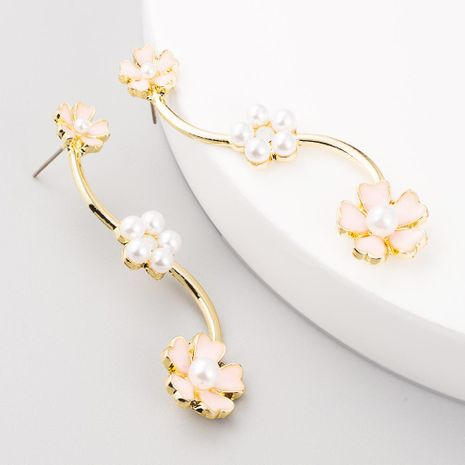 Pendientes de moda nueva aleación pendientes de perlas con tachuelas flores silvestres de gama alta NHLN199010's discount tags