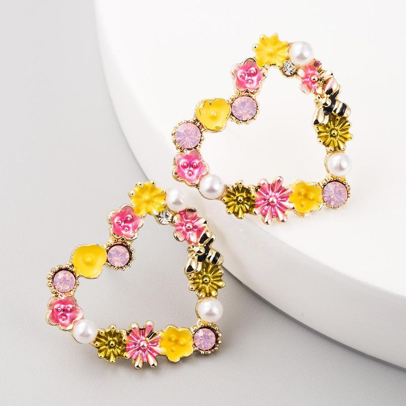 Fashion earrings bohemian flowers fashion heart-shaped temperament earrings women NHLN199011
