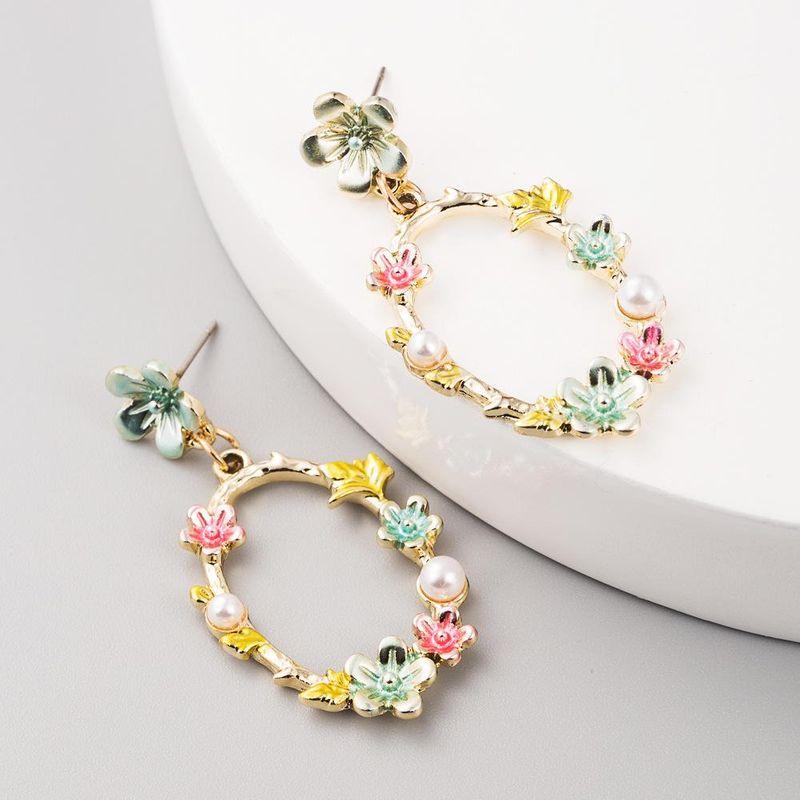 Long Tassel Earrings Bohemian Dripping Alloy Flower Earrings NHLN199013