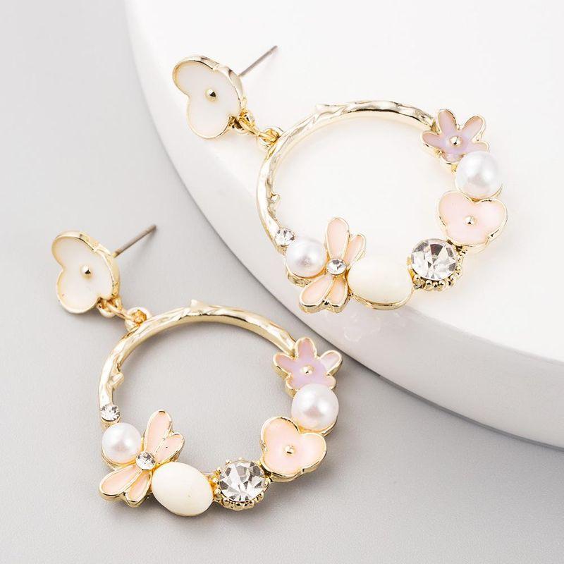 Aretes de flores de moda Pendientes de perlas Boho de aleación de color NHLN199017
