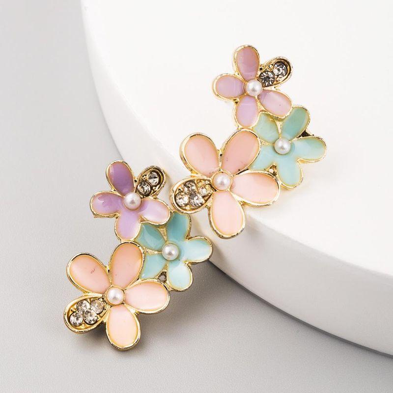New alloy drop oil inlaid pearl flower earrings female 925 silver needle sweet earrings NHLN199016