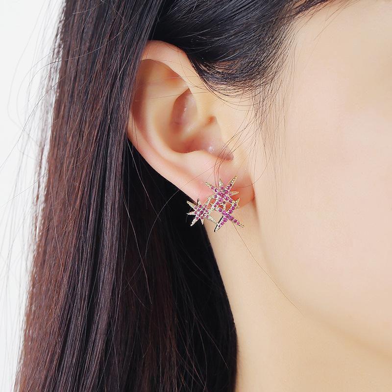 S925 Silver Needle New Asymmetric Opal Simple Fashion Star Stud Earrings NHKQ199024
