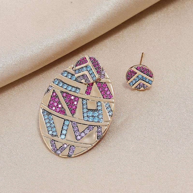 Fashion retro personality exaggerated S925 silver pin multi-color boho striped asymmetric earrings NHKQ199026
