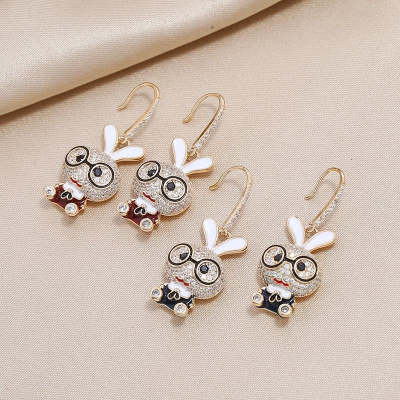 Korean fashion cute cartoon girl personality creative fun bunny diamond earrings NHKQ199027