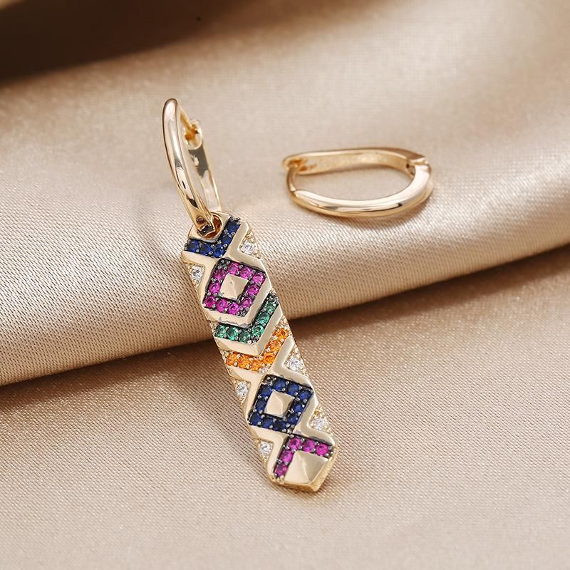 New personality trend creative colorful earrings S925 asymmetric retro fashionable striped earrings NHKQ199036