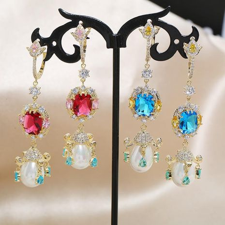 Vintage Palace Hollow Opal Pearl S925 Silver Needle Fashion Earrings NHKQ199043's discount tags