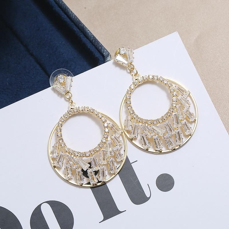 S925 silver needle delicate simple fashion personality hollow round halo stone earrings female NHKQ199045