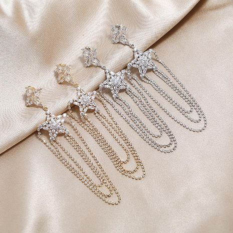 New retro harbor style full of diamonds fringed stars S925 fashion temperament exaggerated atmospheric earrings NHKQ199047's discount tags