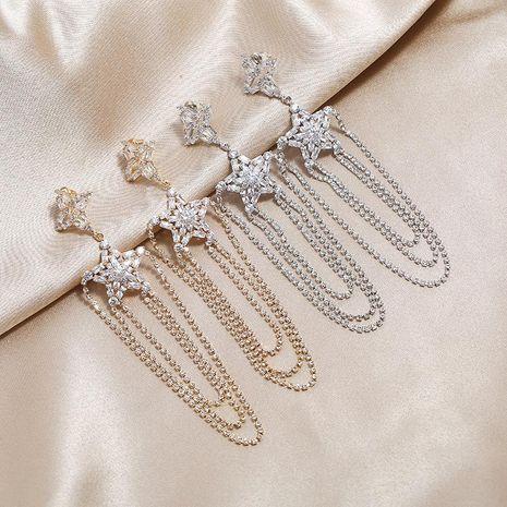 Nuevo estilo retro del puerto lleno de estrellas con flecos de diamantes S925 temperamento de moda pendientes atmosféricos exagerados NHKQ199047's discount tags