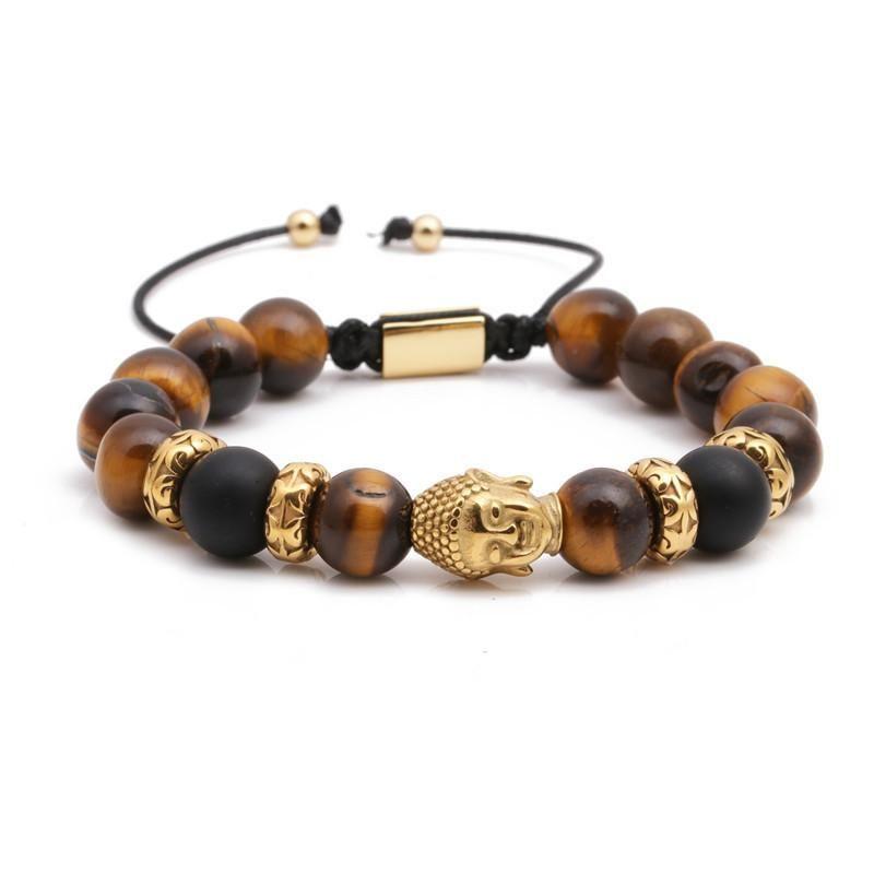 Fashion bracelets stainless steel woven adjustable Buddha head bracelet NHYL199050