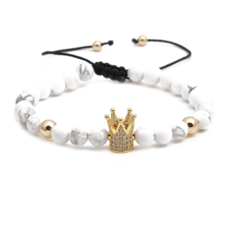 Fashion bracelets 6mm white turquoise woven bracelet for men and women NHYL199051