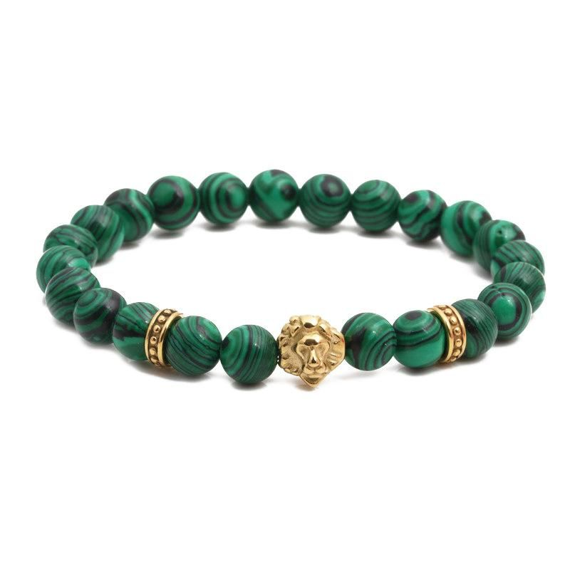Fashion bracelets stainless steel lion head malachite beaded men and women bracelets NHYL199060