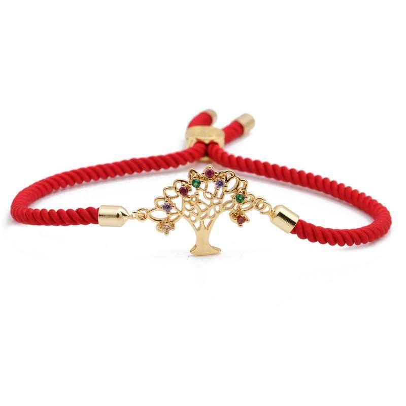 Mona Lisa Bracelet Micro Inlaid Zirconia Red Rope Life Tree Bracelet Adjustable Heart Bracelet NHYL199061