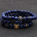 Stainless Steel Lion Head Bracelet Blue Stone Beaded Men39s Bracelet NHYL199062