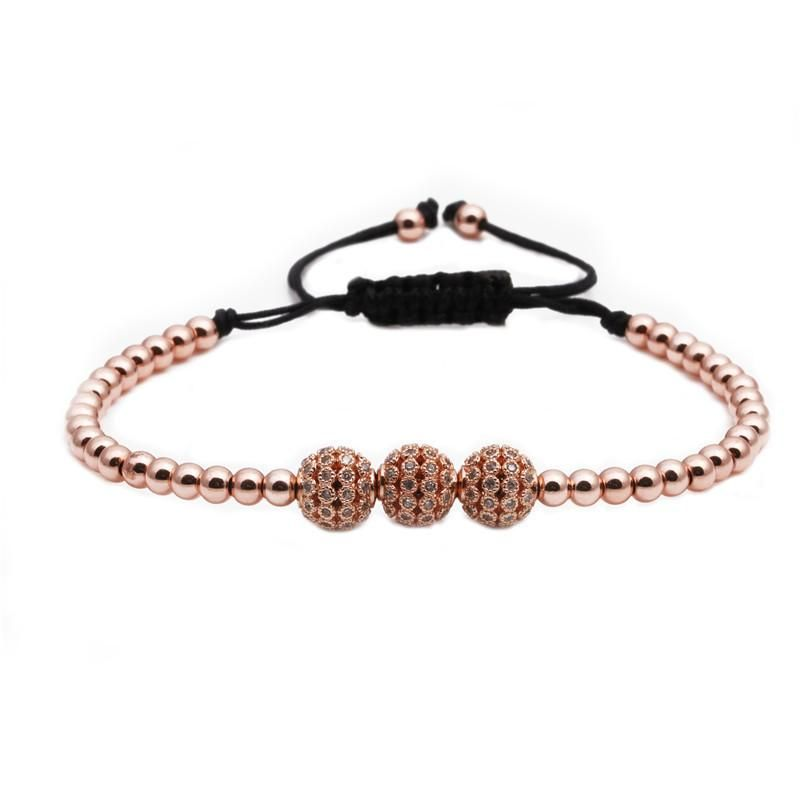 Explosion style copper zircon woven adjustable bracelet copper micro inlay ZC diamond ball bracelet NHYL199063