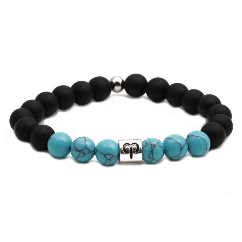 Twelve Constellation Lovers Bracelet Turquoise Beaded Black Frosted Bracelet DIY Men and Women NHYL199068