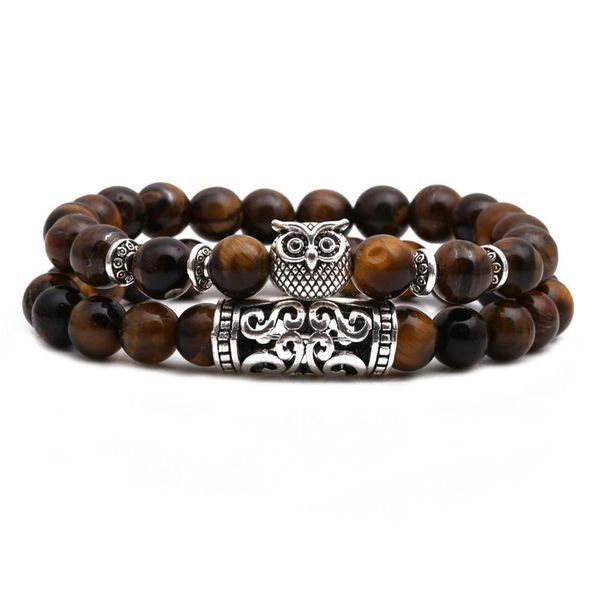 Tiger Eye Stone Owl Buddha Head Bend Set Bracelet Lion Head Elephant Beaded Bracelet NHYL199070