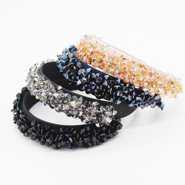 Fashionable hair hoop crystal particles beaded flower personality wild hair hoop accessories NHWJ199074
