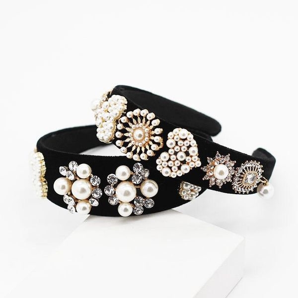 New fashion personality big pearl heart geometry wild prom headband NHWJ199077