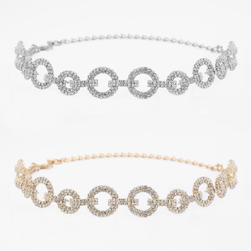 Exaggerated round alloy diamond rhinestone cross chain necklace women's sweater chain NHJE199082