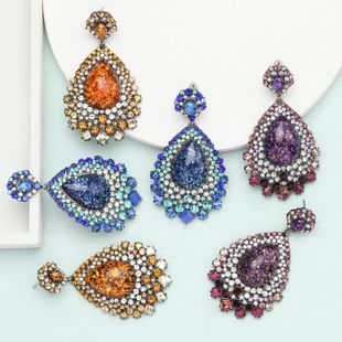 earrings exaggerated super flash drop-shaped resin rhinestone diamond retro ethnic earrings NHJE199084's discount tags