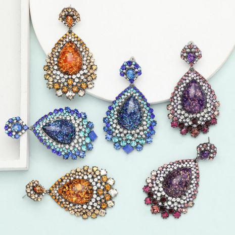 earrings exaggerated super flash drop-shaped resin rhinestone diamond retro ethnic earrings NHJE199084's discount tags