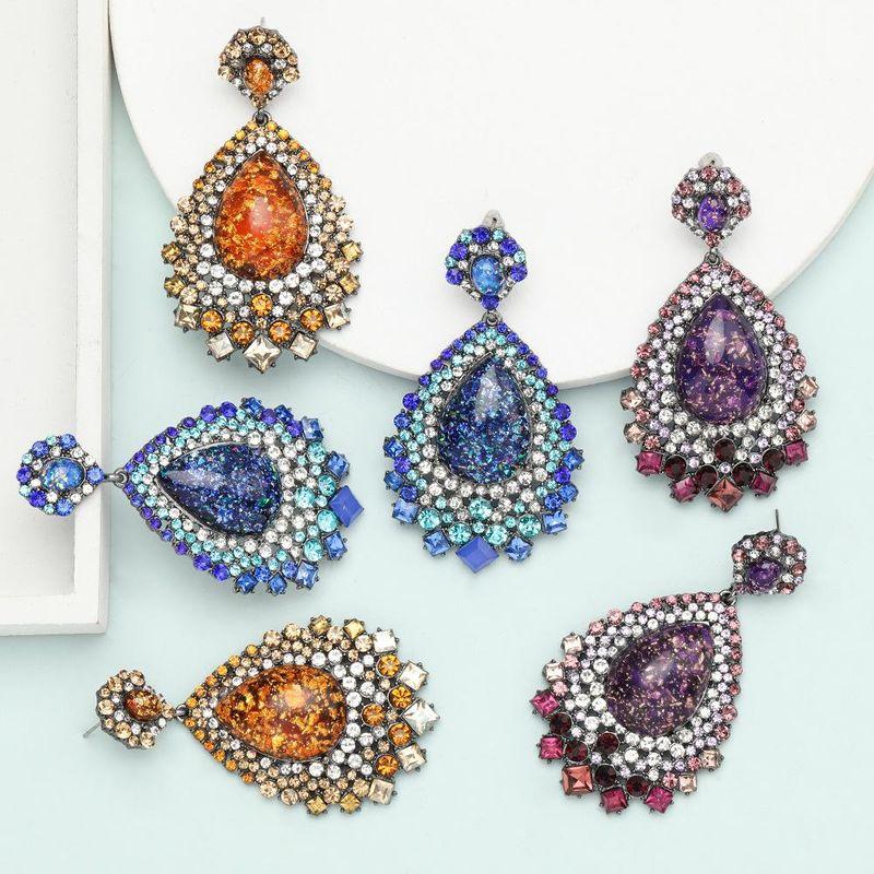 earrings exaggerated super flash drop-shaped resin rhinestone diamond retro ethnic earrings NHJE199084