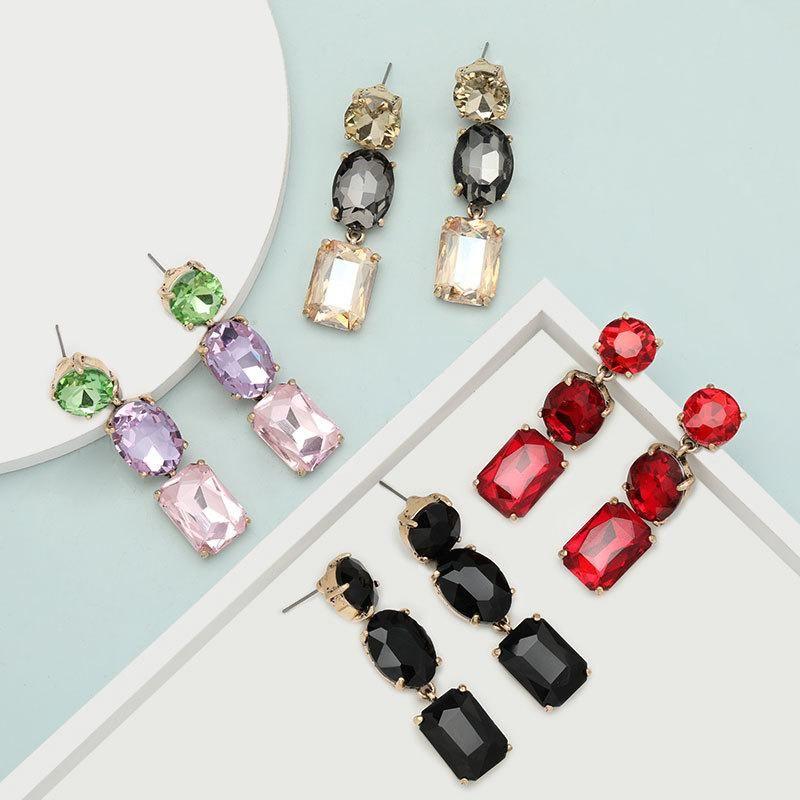 Personalized alloy diamond acrylic earrings female geometric super flash earrings earrings NHJE199085