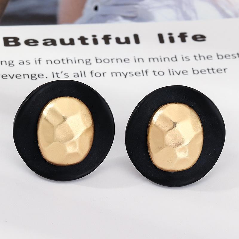 Retro fashion geometric round earrings irregular alloy earrings earrings women NHNZ199121