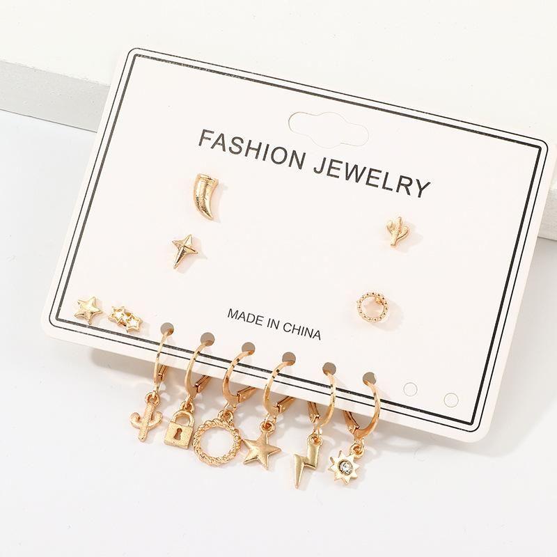 Fashion multi-element earrings set alloy lightning pentagram earrings earrings NHNZ199128