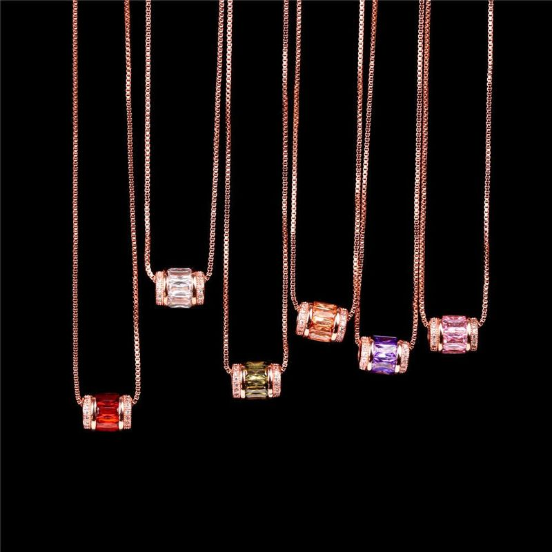 New Fashion Micro Inlaid Zircon Large Hole Bead Pendant Rose Gold Clavicle Chain NHPY199129