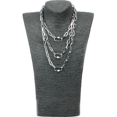 New personality hip-hop multi-layer long section chain micro-inlaid zircon lock pendant necklace NHPY199130's discount tags