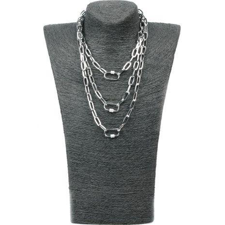 Nueva personalidad de hip-hop de múltiples capas de cadena larga sección micro-incrustaciones de circón colgante collar colgante NHPY199130's discount tags