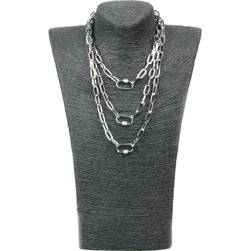 New personality hip-hop multi-layer long section chain micro-inlaid zircon lock pendant necklace NHPY199130