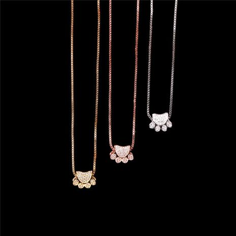 Cute animal bear paw cat paw print necklace micro inlaid zircon pendant necklace NHPY199131's discount tags