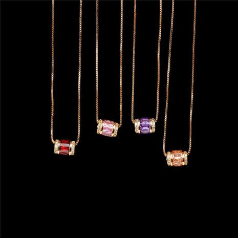 Stylish and simple micro-inlaid zircon large hole bead pendant clavicle chain NHPY199133's discount tags
