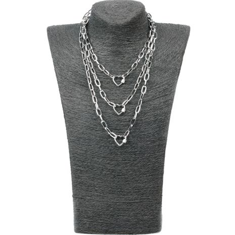 New Exaggerated Hip Hop Wind Multilayer Long Link Chain Micro Inlaid Zircon Lock Love Pendant Necklace NHPY199135's discount tags
