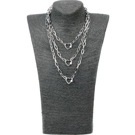 Nuevo exagerado Hip Hop Wind multicapa larga cadena de enlace micro incrustaciones de circón cerradura amor colgante collar NHPY199135's discount tags