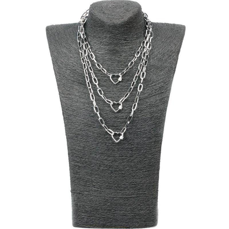 New Exaggerated Hip Hop Wind Multilayer Long Link Chain Micro Inlaid Zircon Lock Love Pendant Necklace NHPY199135